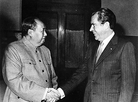 Richard Nixon meets with Mao Zedong in Beijing, February 21, 1972.