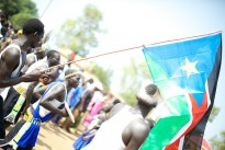 A man waves the flag of South Sudan on the country's day of independence, 9 July 2011. South Sudan is listed as number one on the Fund for Peace's most recent Fragile States Index, previously the Failed States Index.