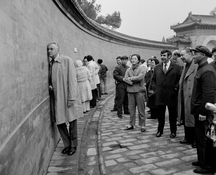 Prime Minister Gough Whitlam at the Echo/Whispering Wall at the Temple of Heaven in Beijing, China, during his visit in October/November 1973.  Prime Minister Whitlam's decision to open diplomatic relations with China defined a 40-year path to stability and prosperity.