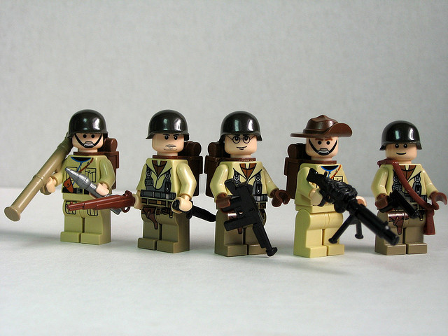 US and Australian World War II soldiers with protype BrickArms weapons.