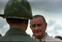 President Lyndon Johnson Visiting with U.S. Troops in Cam Ranh Bay, Vietnam, 10/26/1966