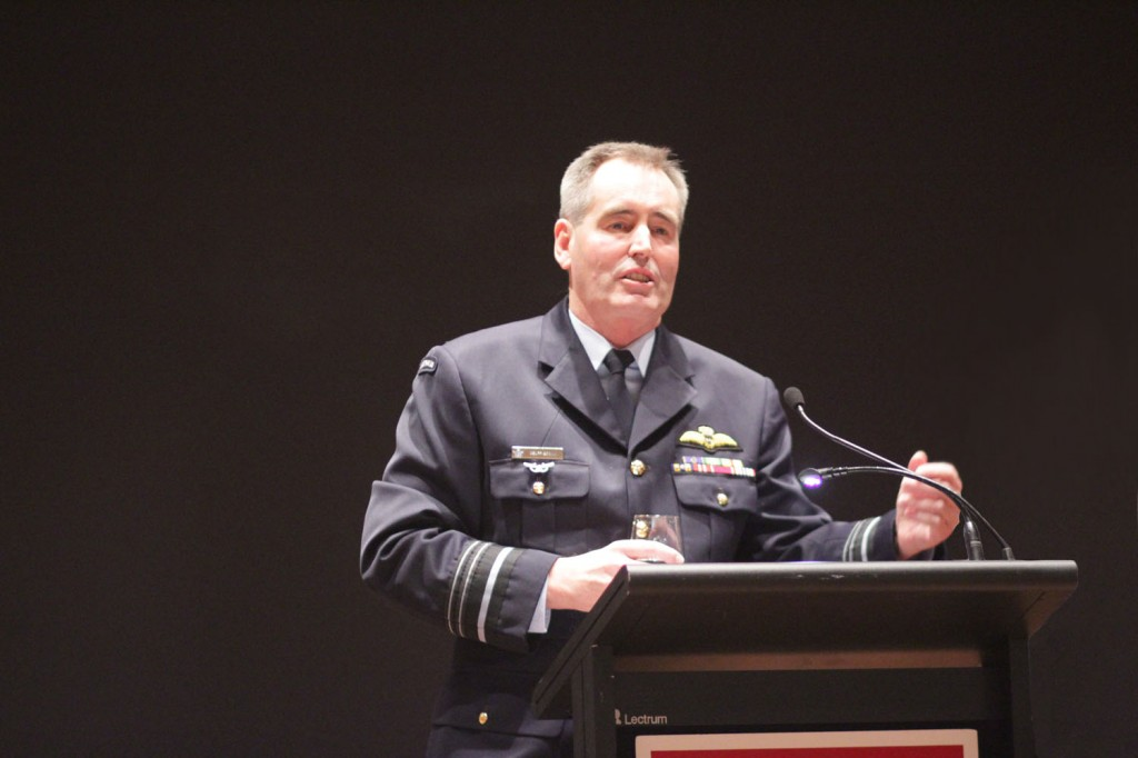 Chief of Air Force Air Marshal Geoff Brown delivers his speech at ASPI's Dinner with the Chief's