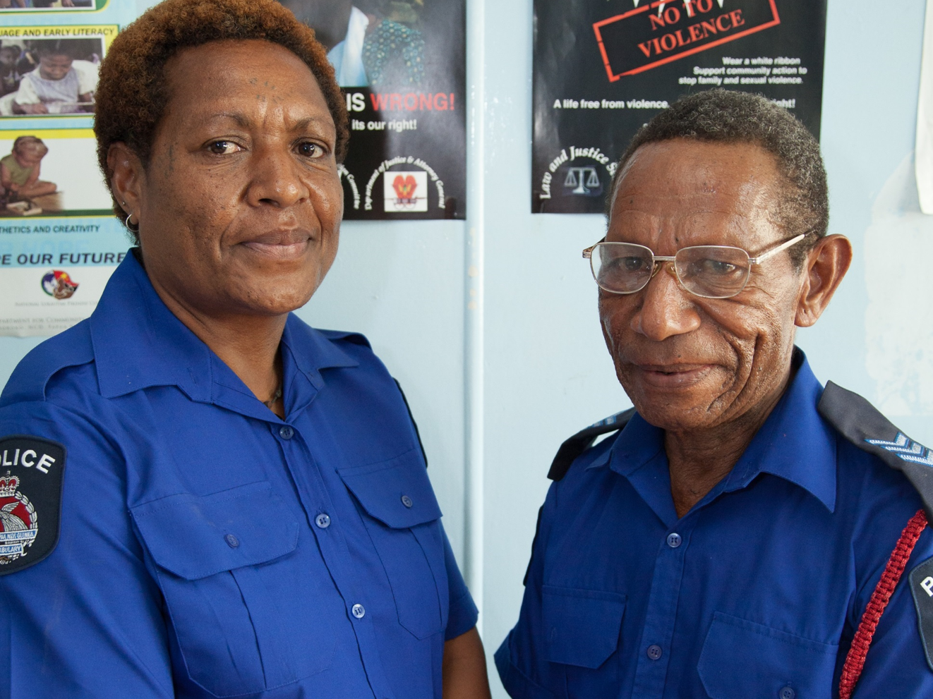 Police officers Peter and Malen look after the cases at the Family and Sexual Violence Unit at Waigani Police Station, Port Moresby PNG.