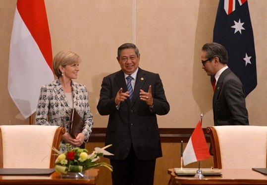 President SBY witnessed the signing by Ministers Bishop and Natalegawa of the Code of Conduct in Bali yesterday.