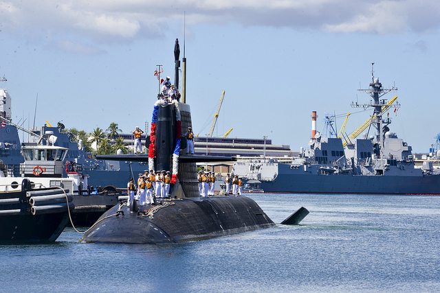 PEARL HARBOR (Oct. 15, 2013) The Japan Maritime Self-Defense Force (JMSDF) submarine JS Unryu (SS 502) arrives at Joint Base Pearl Harbor-Hickam for a routine port visit. While in port, the submarine crew will conduct various training evolutions and have the opportunity to enjoy the sights and culture of Hawaii.