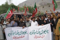 Pakistan Tahreeki Insaf (PTI) workers protesting against election rigging.