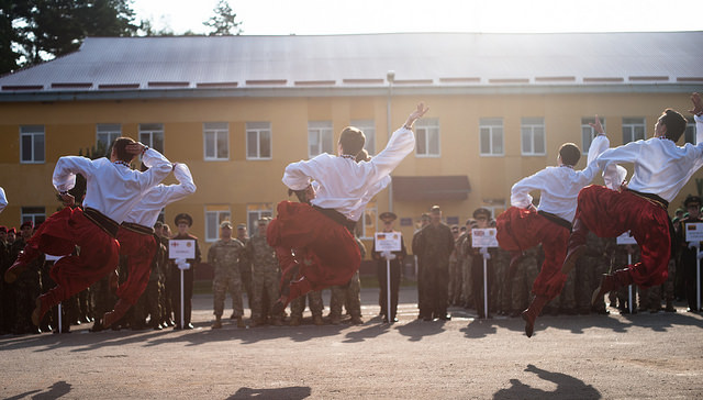Traditional Ukrainian dancers perform a traditional dance for the participants of Rapid Trident 2014 during the exercises opening ceremony here Sept. 15. Rapid Trident is an annual U.S. Army Europe conducted, Ukrainian led multinational exercise designed to enhance interoperability with allied and partner nations while promoting regional stability and security.