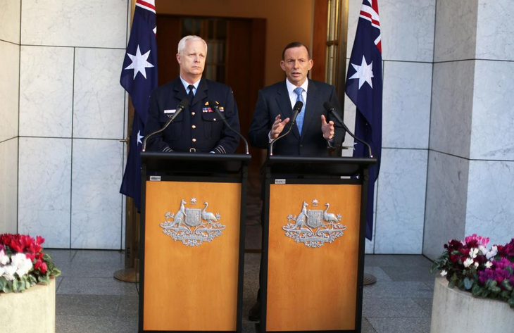 PM Tony Abbott with Chief of Defence Force Air Chief Marshal Mark Binskin announcing Australia will join international partners to help the anti-ISIL forces in Iraq.