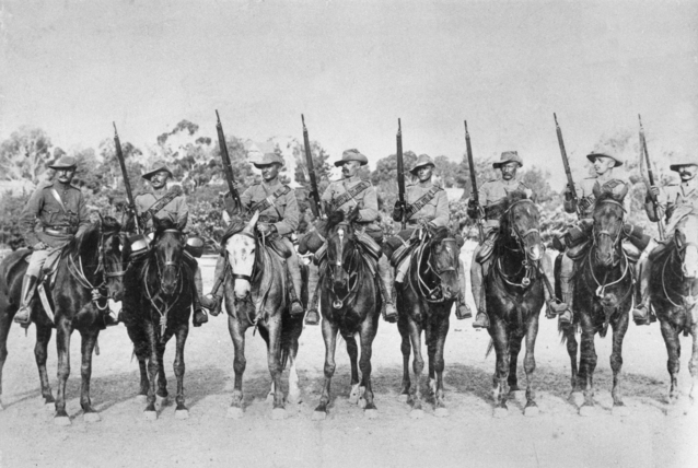 "Men from the 2nd South Australian (Mounted Rifles) Contingent, who fought in the Boer War. Third from left is Trooper Harry ""The Breaker"" Morant. South Africa, c. 1900."
