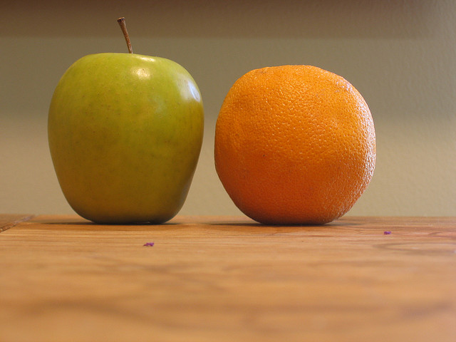 Comparing apples and oranges.