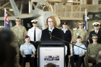 Then Prime Minister of Australia, the Honourable Julia Gillard MP launching the Defence White Paper at No. 34 Squadron, Fairbairn.