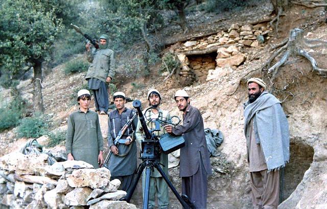 "Afghanistan Kunar October 1987: Jamiat-e Islami group shelter and ""Dashaka"" .50 cal. machine gun position in Shultan Valley"