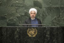 Hassan Rouhani, President of the Islamic Republic of Iran, addresses the general debate of the sixty-ninth session of the General Assembly. President Rouhani indicated in his speech that Iran would co-operate on 'very important regional issues, such as combating violence and extremism', while demanding concessions in the P5+1 nuclear talks.