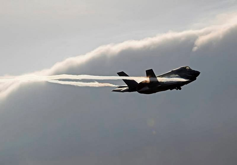 One of the UK's first F-35B Lightning II aircraft takes off from Eglin Air Force Base, Florida.