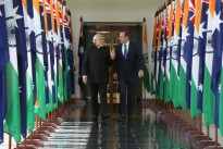 Indian Prime Minister Narendra Modi and Prime Minister Abbott after the Indian leader's address to Parliament.