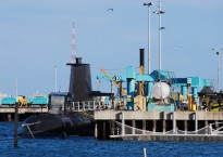 A Collins class submarine in dock at the Australian Submarine Corporation facility, Adelaide.