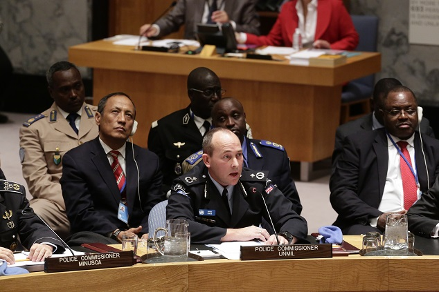 AFP Officer Greg Hinds, Police Commissioner of the UN Mission in Liberia (UNMIL), addresses the Security Council meeting on the role of policing in peacekeeping and post-conflict peacebuilding.