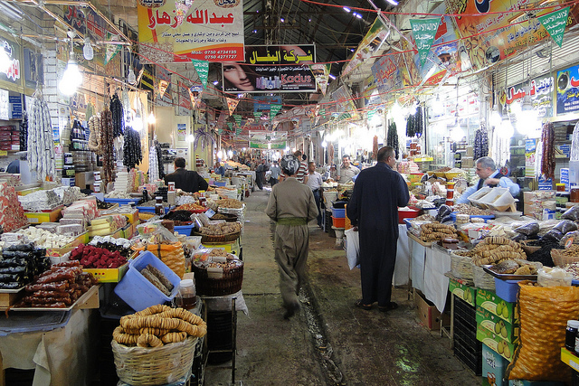 The bazaar in Erbil, Iraq. 'Most people just want to live securely, with an opportunity for their children to have a better life. Those are social problems, not religious ones. Providing a few economic answers may not solve the entire crisis. But it might be a start.'