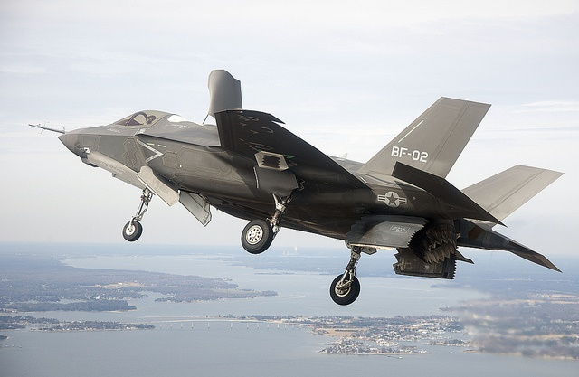 Marine Corps Joint Strike Fighter F-35B on a test flight on the Patuxent River, Maryland.