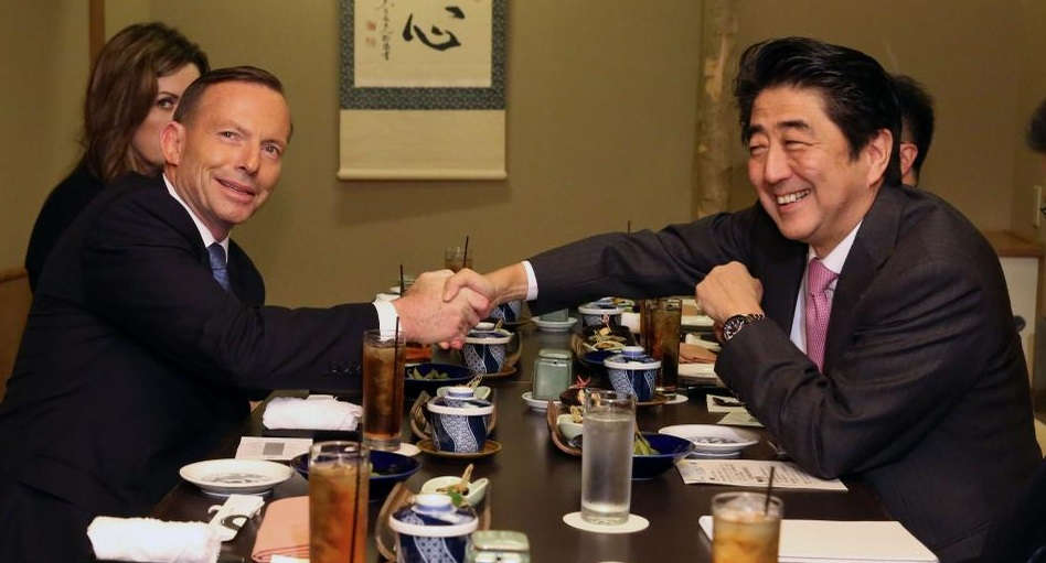 A warm working lunch with @AbeShinzo discussing the Middle East situation and other current events