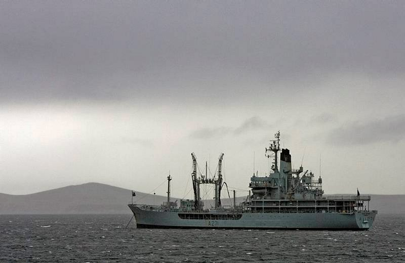 The Small Fleet Tanker, RFA Gold Rover at anchor in San Carlos Bay, Falkland Islands.