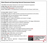 Select Recent and Upcoming Internet Governance Events