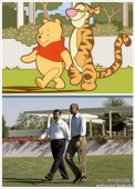 Last year's winner juxtaposed Winnie the Pooh and Tigger with a photo of Xi Jinping and Barack Obama.