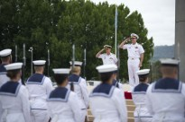 CANBERRA, Australia (Feb. 10, 2015) Chief of Naval Operations (CNO) Adm. Jonathan Greenert and Vice Adm. Tim Barrett, Australian chief of navy, salute the Australian Federation Guard and national flag during a full honors ceremony to welcome Greenert to the Russell Offices, which is the Australian defense headquarters. Greenert is in Australia meeting with government and military leadership to discuss continued mutual maritime security interests and enhanced partnership opportunities. (U.S. Navy photo by Chief Mass Communication Specialist Peter D. Lawlor/Released)