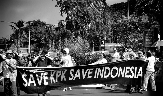 Demonstration in support of Indonesia's Corruption Eradication Commission (KPK).
