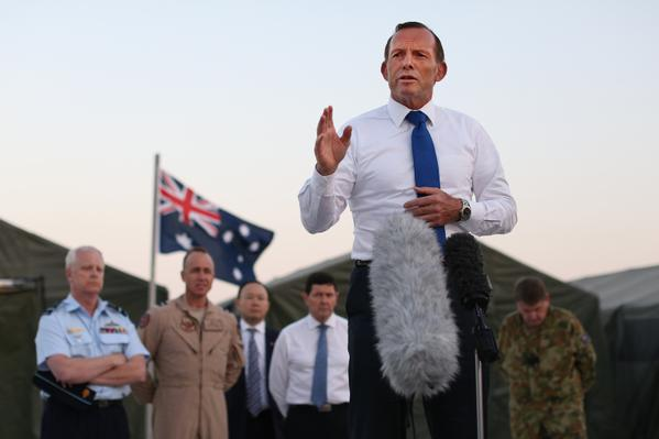 Tony Abbott visiting troops abroad in January, 2015.
