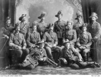 PROBABLY GYMPIE, QLD, 1913. GROUP PORTRAIT OF MEMBERS OF REGIMENTAL STAFF, GYMPIE LIGHT HORSE.