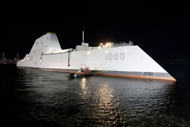 The Zumwalt-class guided-missile destroyer DDG 1000 is floated out of dry dock at the General Dynamics Bath Iron Works shipyard.