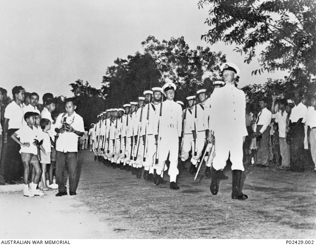 The withdrawal parade in Labuan from the Royal Navy, Royal Australian Navy and Royal New Zealand Navy at the end of the confrontation after their successful mission.