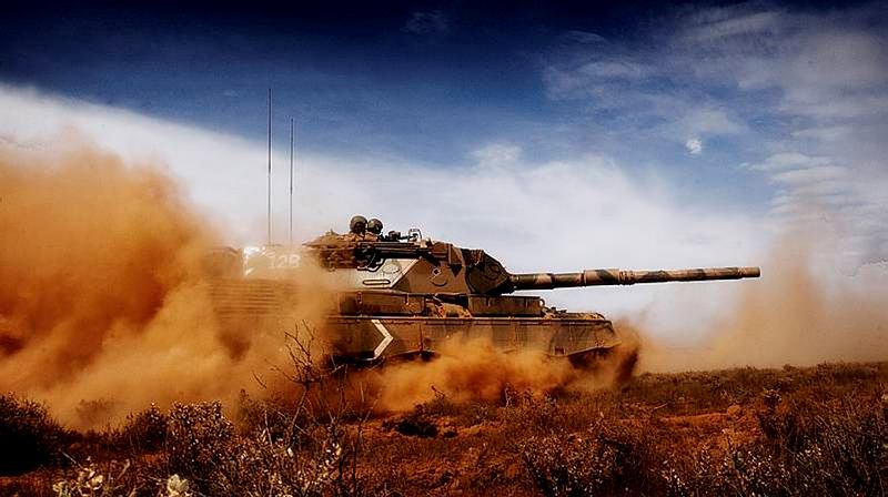 Leopard Tanks from 1st Armoured Regiment conducting manoeuvres during Exercise Predators Strike at El Alamein Army Camp, Cultana, South Australia.