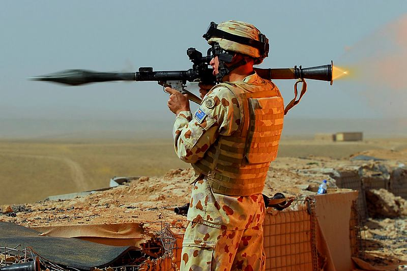 An Australian soldier fires the rocket propelled grenade as part of training for the Afghan National Army.