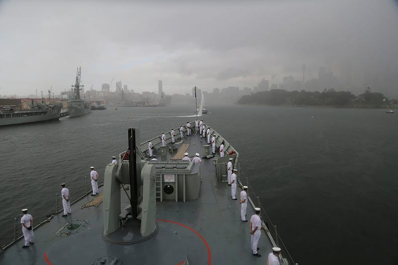 HMAS Sydney (IV) entered Sydney Heads for the final time as a Royal Australian Navy ship this morning, before being welcomed alongside Garden Island, by former sailors, officers and support staff. The Adelaide class frigate is scheduled to be decommissioned at the end of the year to make way for the Navy's new fleet of Hobart Class Guided Missile Destroyers. Sydney (IV) was commissioned on 29 January 1983 and is the fourth ship to bear the name.