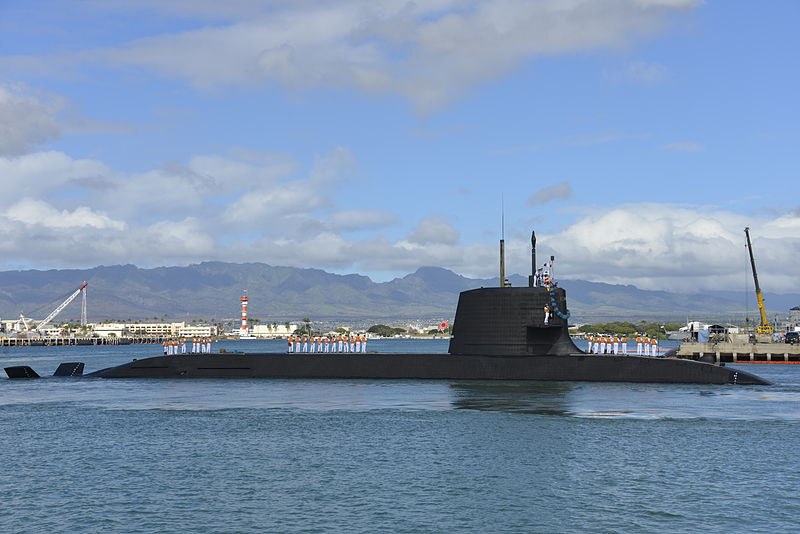 Japan Maritime Self Defense Force (JMSDF) submarine Hakuryu (SS-503) arrives at Joint Base Pearl Harbor-Hickam for a scheduled port visit, Feb. 6. While in port, the submarine crew will conduct various training evolutions and have the opportunity to enjoy the sights and culture of Hawaii. (U.S. Navy photo by Cmdr. Christy Hagen/Released)