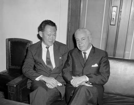 Mr Lee Kuan Yew with the Federal Treasurer, Mr Harold Holt, during a visit to Parliament House, Canberra, 1965.