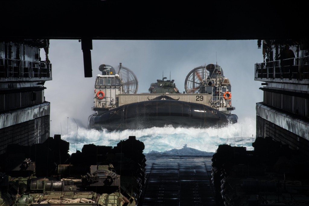 EAST CHINA SEA (March 15, 2015) A Landing Craft Air Cushion assigned to Naval Beach Unit (NBU) 7 enters the well deck of the Whidbey Island-class amphibious dock landing ship USS Ashland (LSD 48). Ashland is part of the Bonhomme Richard Amphibious Ready Group and, along with the embarked 31st Marine Expeditionary Unit (31st MEU), is conducting a certification exercise. (U.S. Navy photo by Mass Communication Specialist 3rd Class Christian Senyk/Released)
