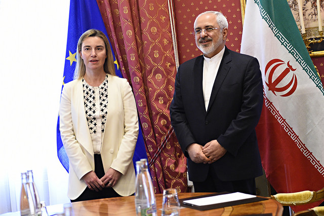 Federica Mogherini, High Representative of the Union for Foreign Affairs and Security Policy and Vice-President of the EC with Iranian Foreign Minister Javad Zarif in Hotel Beau Rivage in Lausanne during the talks of E5/EU+1.
