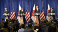 Secretary of Defense Ash Carter and Secretary of State John Kerry hold a joint press conference with Japanese Foreign Minister Fumio Kishida and Japanese Defense Minister Gen Nakatani in New York City, April 27, 2015