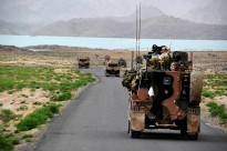 Around 100 Australian and Afghan National Army vehicles travelled past Arghandab Dam, near Kandahar City, during Operation Tor Ghar IV.