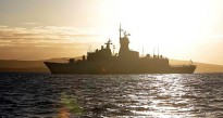 HMAS Perth transits through King George's Sound into the city of Albany, Western Australia.