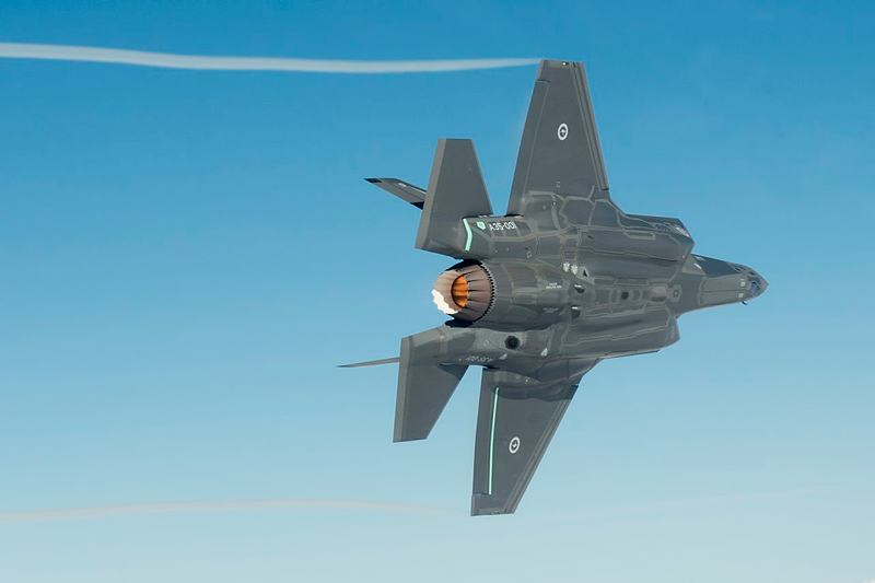 An Australian F-35A Lightning II aircraft on its maiden flight.