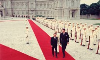The arrival ceremony at Akasaka Palace during the official visit to Japan by Malcolm Fraser, 16 June 1976.
