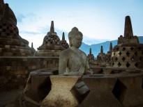 Meditation at Borobudur, Indonesia.