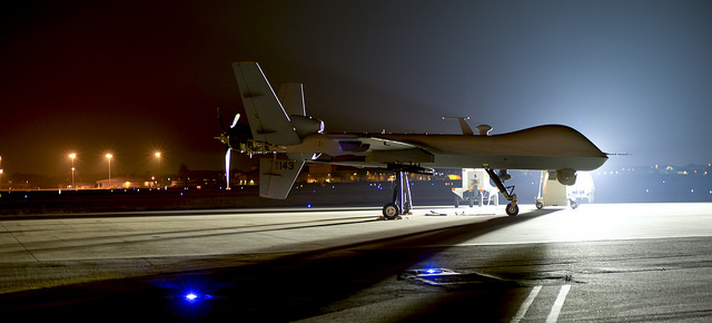 An MQ-9 Reaper sits on the flight line at Hurlburt Field Fla., April 24, 2014