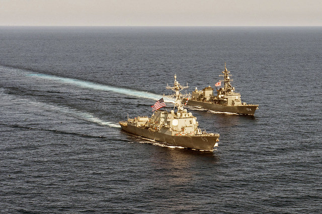 USS Mustin and JS Kirisame conduct bilateral training in South China Sea