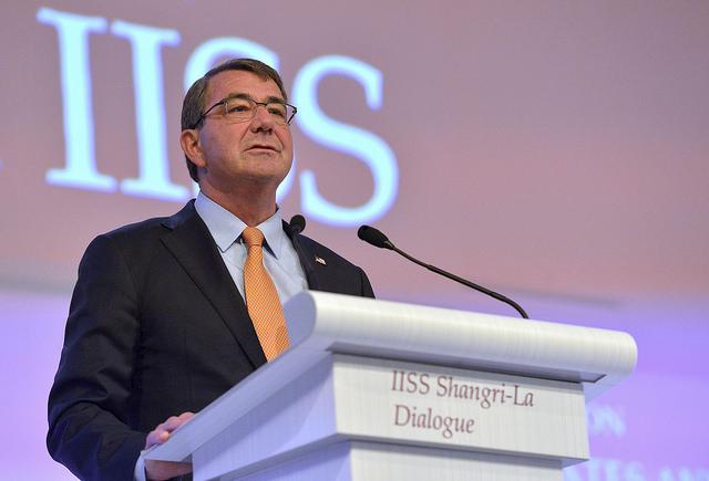Secretary of Defense Ash Carter delivers the keynote address to kickoff the Shangri-La Dialogue in Singapore, May 30, 2015. Carter spoke of strengthening relations between Asia-Pacific nations and countered provocative land reclamation efforts by China.