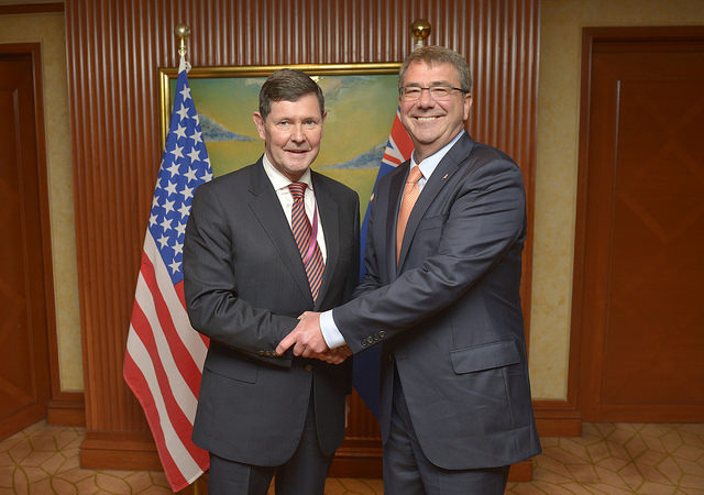 Secretary of Defense Ash Carter meets with Australia's Minister of Defense Kevin Andrews while attending the Shangri-La Dialogue in Singapore, May 30, 2015.